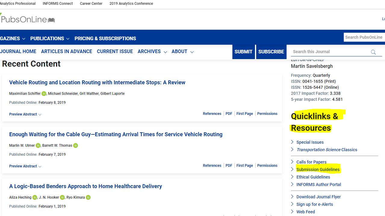 در دومین مثال به سراغ یافتن فرمت یک مجله از رشته مهندسی عمران می رویم با نام Transportation Science