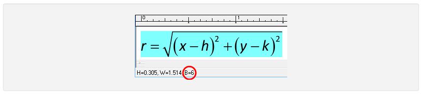 مقدار فاصله خط مبنای معادله از خط مبنای متن